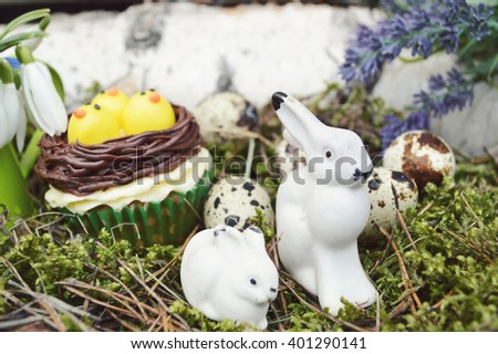 Beautiful cute Easter cupcakes with Easter decorations .spring concept - stock photo