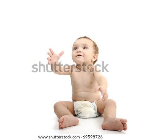 Beautiful cute happy baby isolated on white background. Wearing diaper, large copy-space for your message. - stock photo