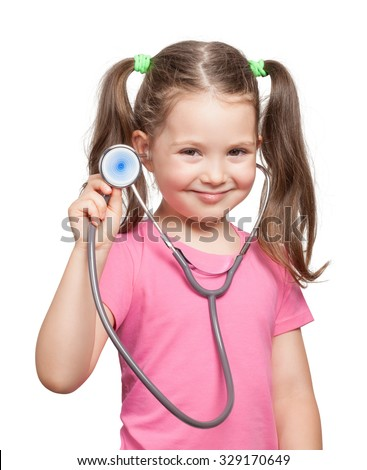 beautiful cute little girl with stethoscope on white background. little girl playing in doctor. - stock photo