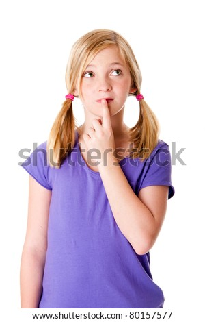Beautiful cute teenager girl with pigtails thinking about her options with finger on lips and looking up, isolated.