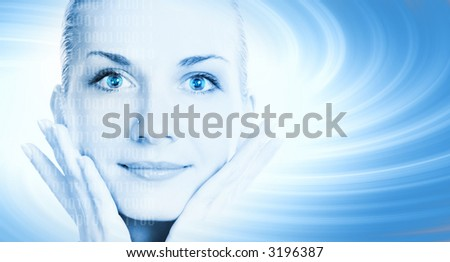 Beautiful cyber girl's face on abstract background - stock photo