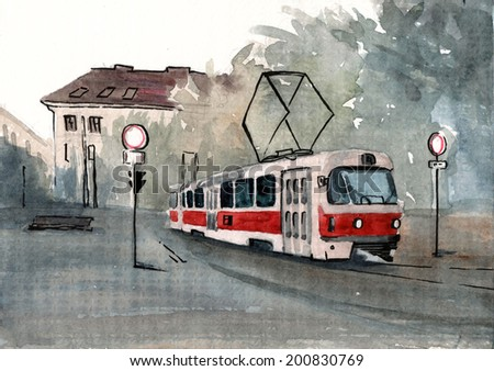 Beautiful czech tram on grey background watercolor paper illustration hand drawn painting poster - stock photo