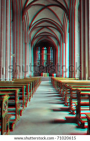 Beautiful 3D anaglyph stereo image of a cathedral interior. Great serenity, peace, religious, concept for diverse advertising materials. To view this image you need stereo glasses. - stock photo