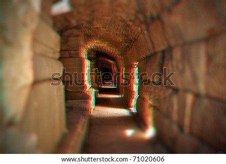 Beautiful 3D anaglyph stereo image of a empty tunnel. Great religion, travel, ecologycal concept for diverse advertising materials. To view this image you need stereo glasses. - stock photo