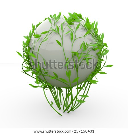 Beautiful 3D nature green lines around sphere - stock photo