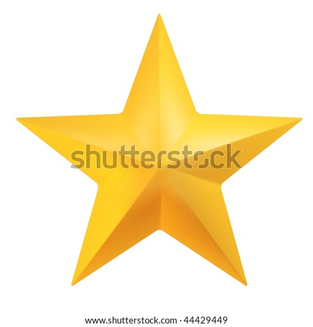 Beautiful 3d render of golden star on white background - stock photo
