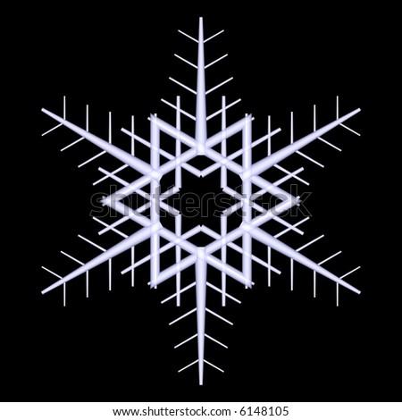 Beautiful 3d snowflake design isolated on black - stock photo