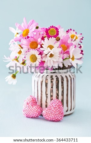 Beautiful daisy flowers in a vase on a blue background . - stock photo