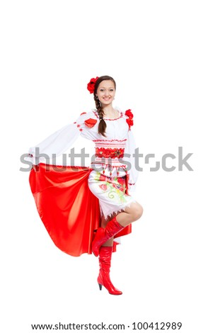 beautiful dancing girl in ukrainian polish national traditional costume clothes happy smile, full length portrait isolated over white background