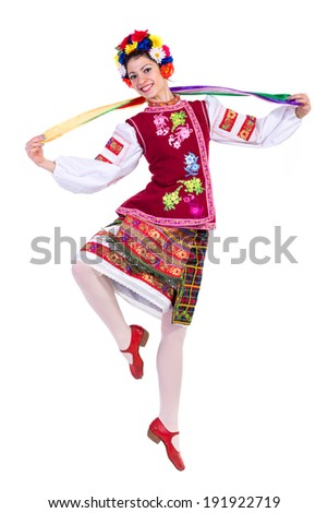 beautiful dancing girl in ukrainian polish national traditional costume clothes happy smile, full length portrait isolated over white background - stock photo