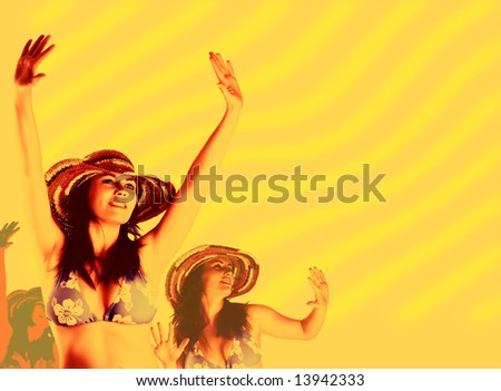 beautiful dancing women. Party background