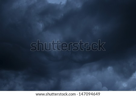 Beautiful dark cloudy sky before the thunderstorm - stock photo