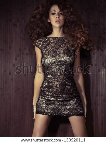 Beautiful dark haired woman - stock photo
