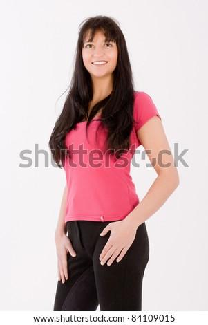 Beautiful dark haired woman riding with the latest fashion /beautiful woman - stock photo