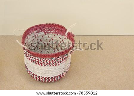 Beautiful date palm leaves woven basket - stock photo