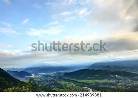 Beautiful dawn from Sarangkot mount  - stock photo