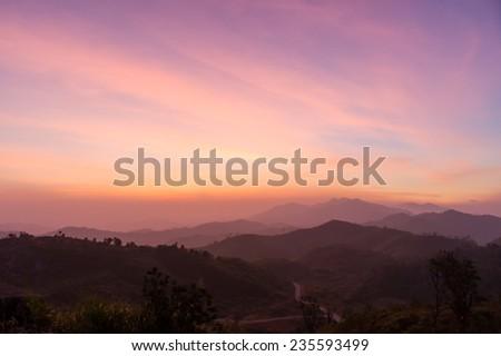 Beautiful dawn in the mountains - stock photo