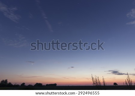 Beautiful dawn sky , Jupiter and Venus Conjunction  With Constellations Leo, Lynx, Ursa major, Leo minor, Cancer, Sextans, Virgo  - stock photo