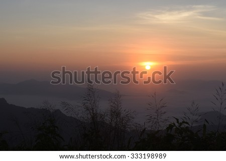Beautiful dawning landscape of new day at Phu cee fa in Chiang Rai Thailand