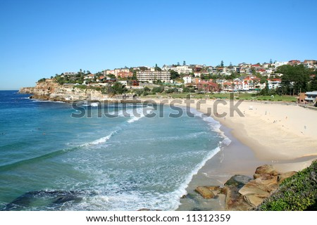 Beautiful day at Bronte Beach and village in Sydney Australia. - stock photo