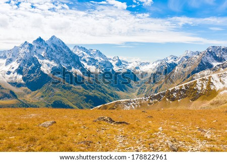 beautiful day in the autumn landscape of the mountain - stock photo
