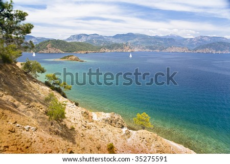 Beautiful day on Mediterranean sea - stock photo