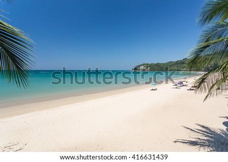 Beautiful day with blue sky at Kamala beach in Phuket - stock photo