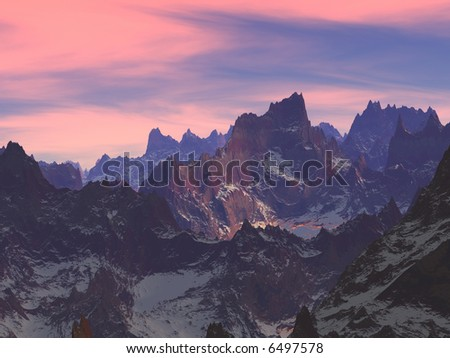 Beautiful decline over mountains covered with snow - stock photo