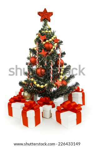 Beautiful decorated christmas tree isolated on white background