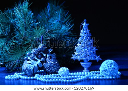 Beautiful Decorated Christmas tree on a darl background