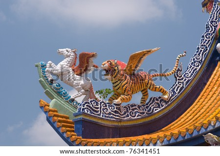 beautiful decorated on Chinese temple roof at Nakhonpathom province Thailand