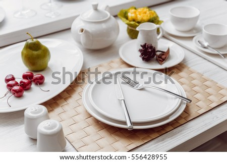 Beautiful decorated table. Light background