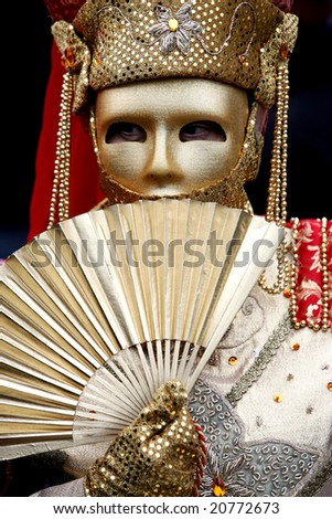 Beautiful decoration of carnival costume in Venice, Italy - stock photo