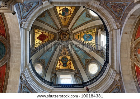 Beautiful decoration of the dome of the Bom Jesus do Monte - Braga, Portugal