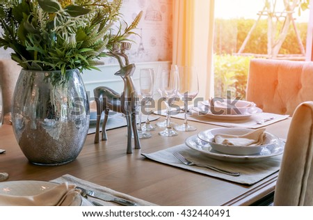beautiful decoration prop on dining table in day light atmosphere