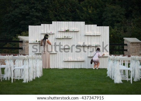 Beautiful decorations for the wedding ceremony, vintage, fashion, style, exterior