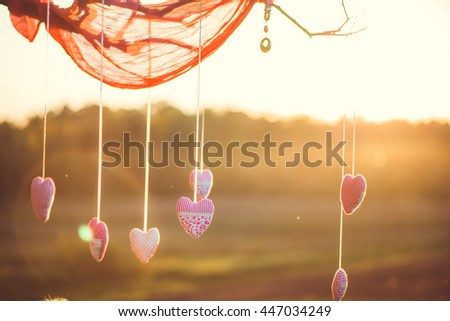 beautiful decorations hanging on a tree - stock photo