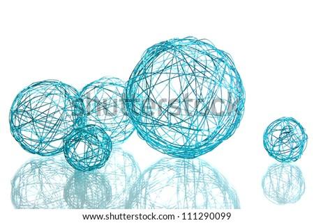 beautiful decorative balls, isolated on white - stock photo
