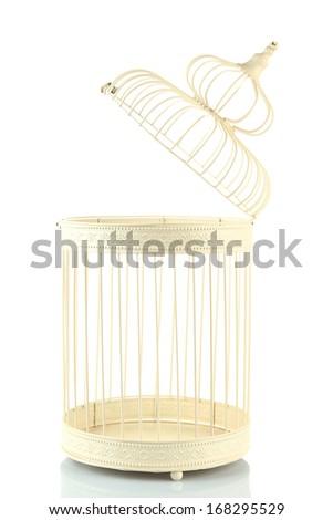 Beautiful decorative cage, isolated on white - stock photo