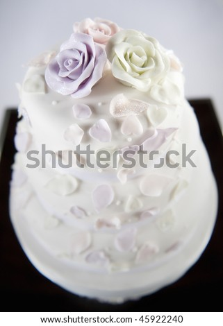 Beautiful decorative wedding cake - stock photo