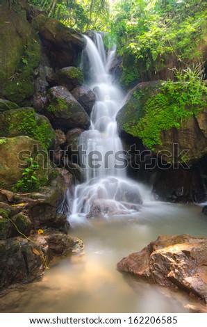 Beautiful Deep Forest waterfall in Nakornnayok, Thailand - stock photo