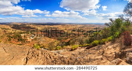 Beautiful 180 degree panorama of the view from the Royal hill Ambohimanga in Madagascar
