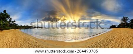 Beautiful 180 degree panorama sunset at the beach of Masoala national park, Madagascar - stock photo