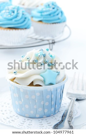 Beautiful delicious cupcakes with blue, white and silver theme - stock photo