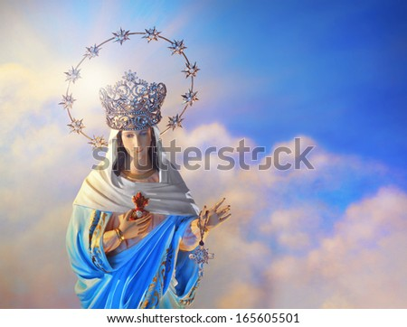 Beautiful depiction of the Virgin Mary with crown of stars in the heavens - stock photo