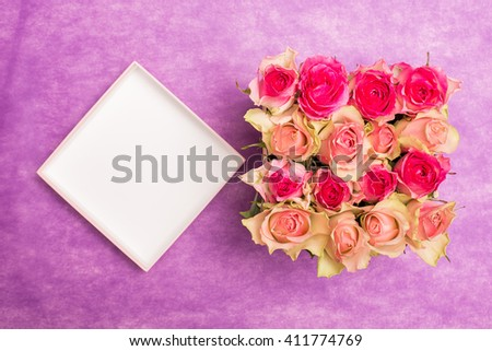 Beautiful design of flowers. Different type of flowers in gift box. Decoration.