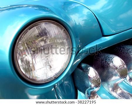 Beautiful detail of custom Mercury hot rod - stock photo