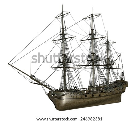 Beautiful detailed old french frigate Medusa, 1810, isolated in white background- 3D render