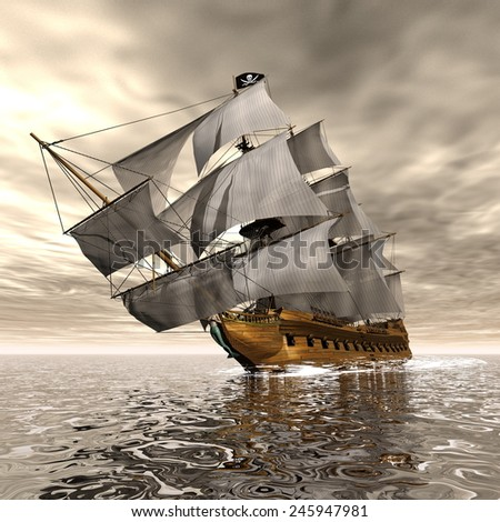 Beautiful detailed Pirate Ship, floating on the ocean by cloudy sunset - 3D render - stock photo