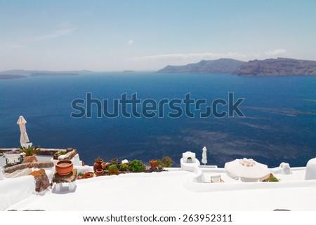beautiful details of Santorini island, caldera with Aegan sea, Greece - stock photo
